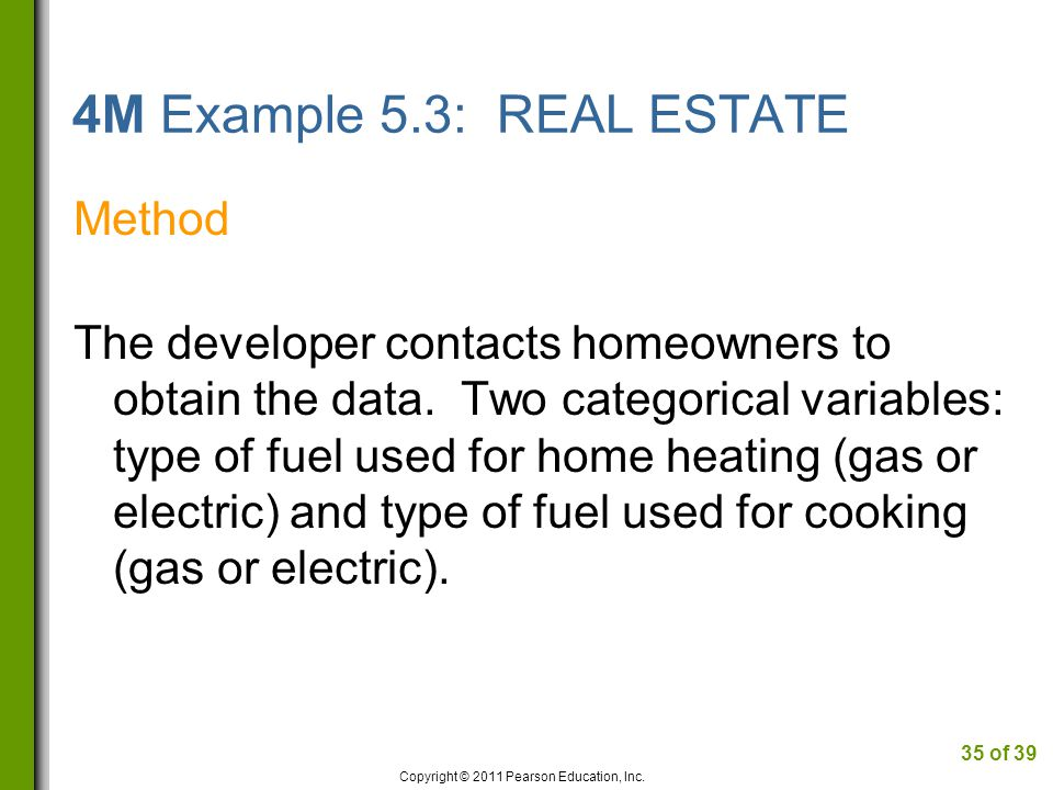 4M Example 5.3: REAL ESTATE Method The developer contacts homeowners to obtain the data.