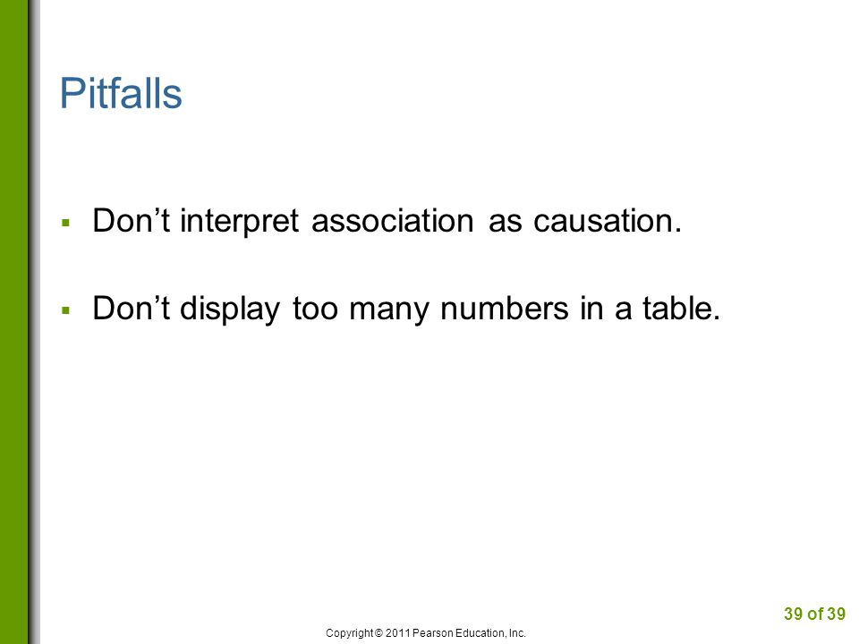 Pitfalls Dont interpret association as causation.Dont display too many numbers in a table.