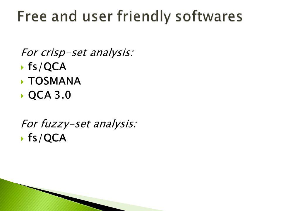 For crisp-set analysis: fs/QCA TOSMANA QCA 3.0 For fuzzy-set analysis: fs/QCA