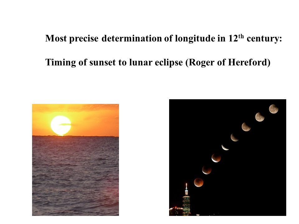 Most precise determination of longitude in 12 th century: Timing of sunset to lunar eclipse (Roger of Hereford)