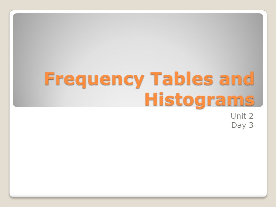 Frequency Tables and Histograms Unit 2 Day 3