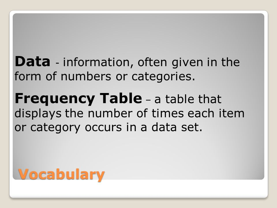 Vocabulary Data - information, often given in the form of numbers or categories.