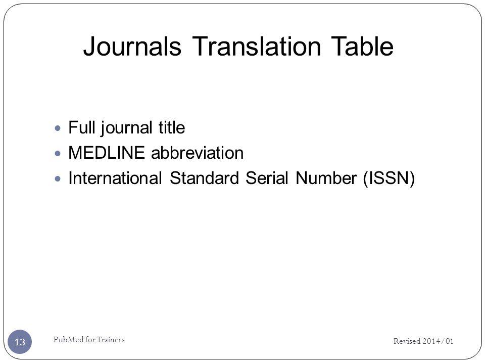 Journals Translation Table Full journal title MEDLINE abbreviation International Standard Serial Number (ISSN) Revised 2014/01 13 PubMed for Trainers