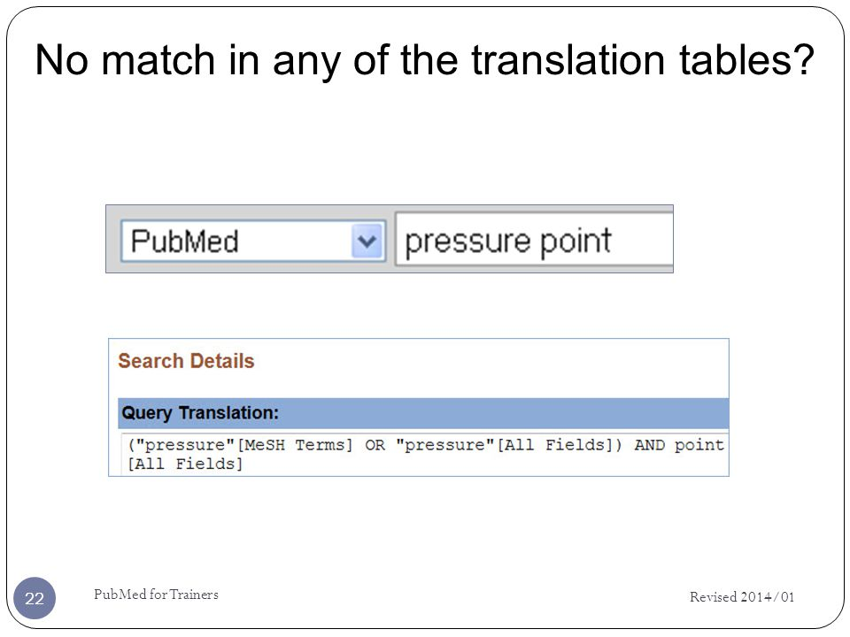 No match in any of the translation tables? Revised 2014/01 22 PubMed for Trainers