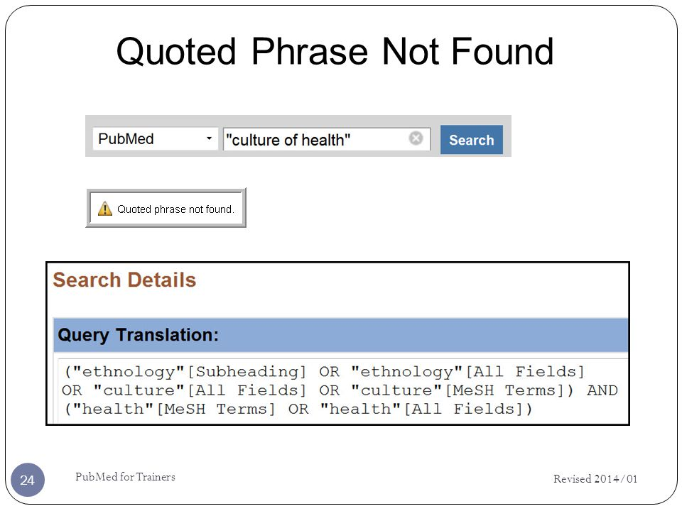 Revised 2014/01 PubMed for Trainers 24 Quoted Phrase Not Found