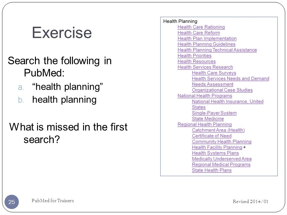 Exercise Search the following in PubMed: a. health planning b. health planning What is missed in the first search? Revised 2014/01 25 PubMed for Train