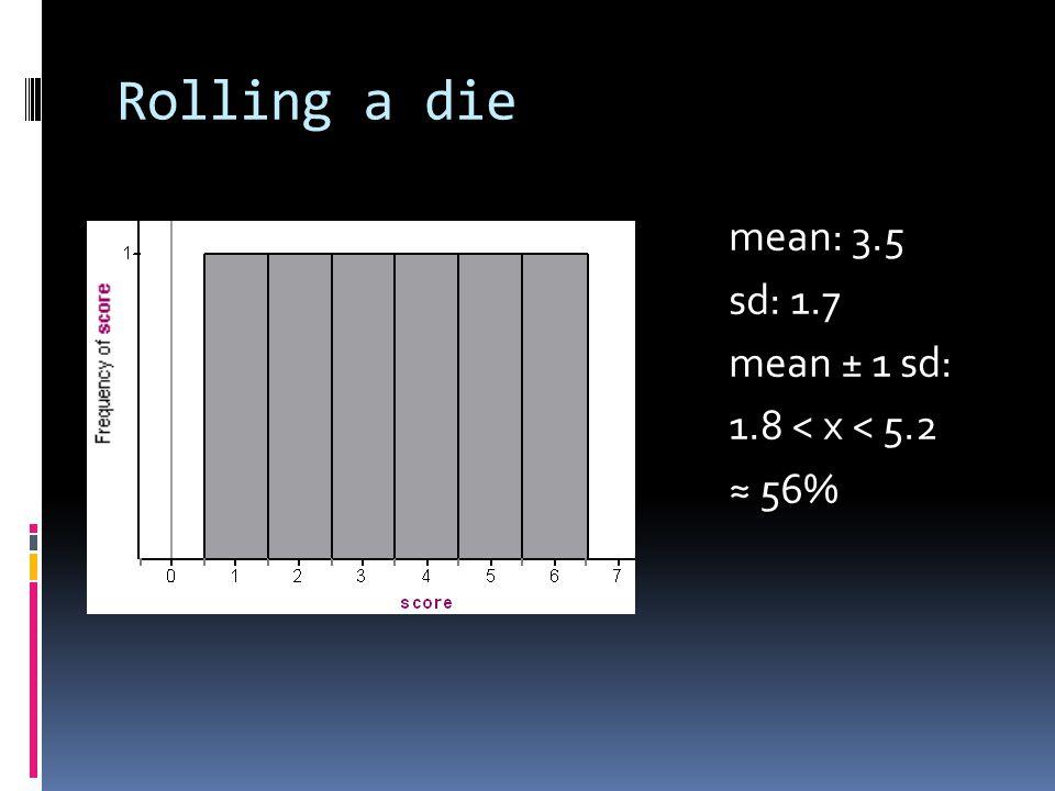 Rolling a die mean: 3.5 sd: 1.7 mean ± 1 sd: 1.8 < x < 5.2 56%