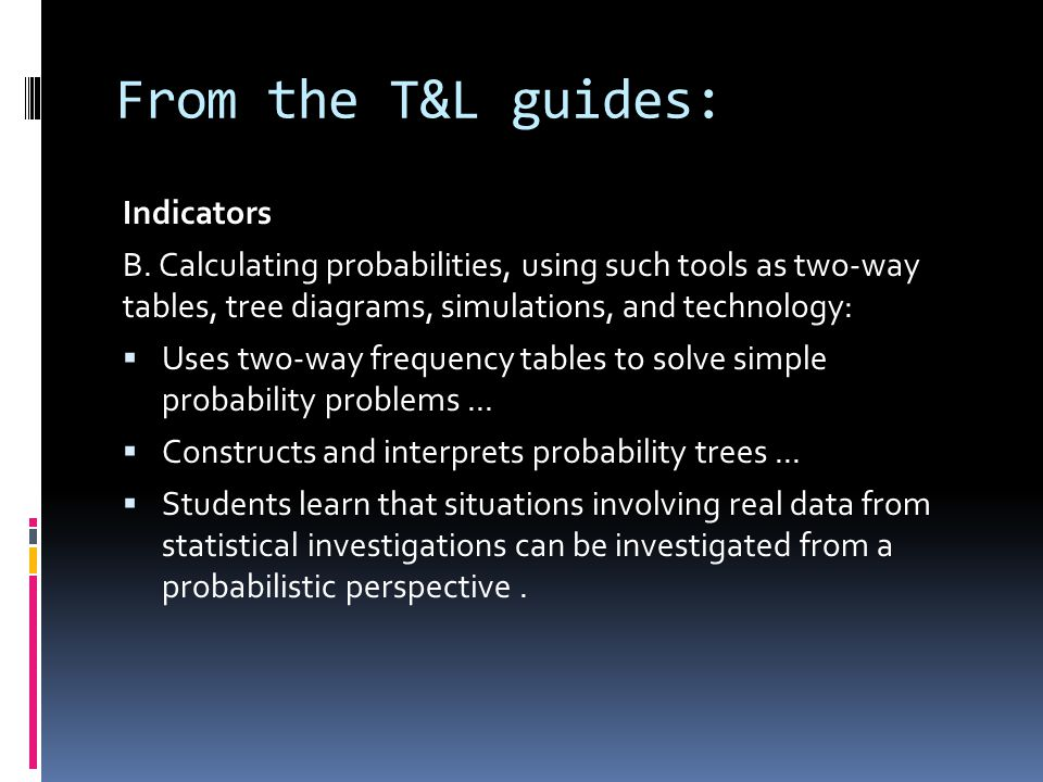 From the T&L guides: Indicators B.