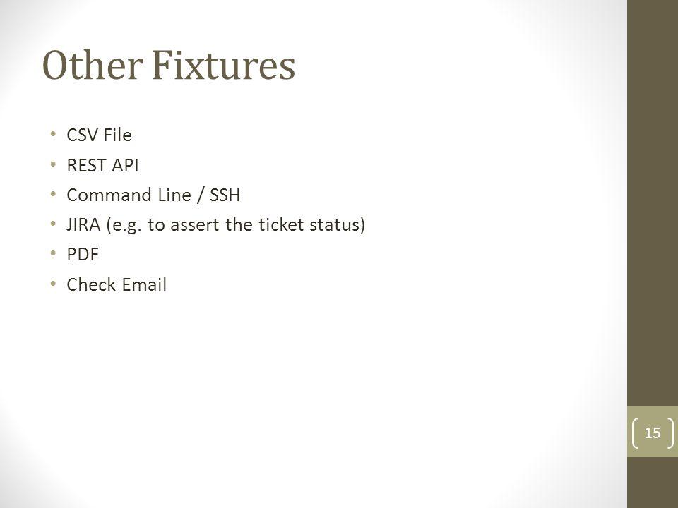 Other Fixtures CSV File REST API Command Line / SSH JIRA (e.g.