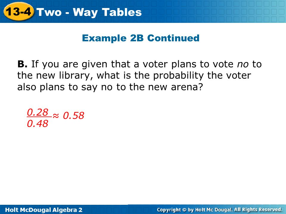 Holt McDougal Algebra 2 13-4 Two - Way Tables B. If you are given that a voter plans to vote no to the new library, what is the probability the voter