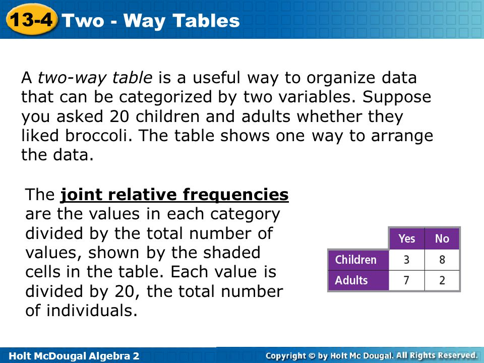 Holt McDougal Algebra 2 13-4 Two - Way Tables A two-way table is a useful way to organize data that can be categorized by two variables. Suppose you a