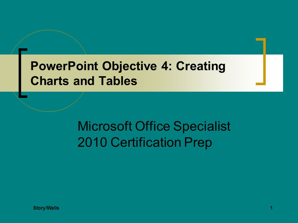 1 PowerPoint Objective 4: Creating Charts and Tables Microsoft Office Specialist 2010 Certification Prep Story/Walls