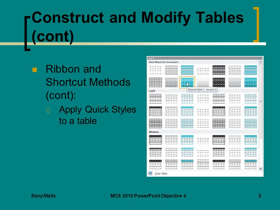 Story/WallsMOS 2010 PowerPoint Objective 43 Construct and Modify Tables (cont) Ribbon and Shortcut Methods (cont): Apply Quick Styles to a table 3