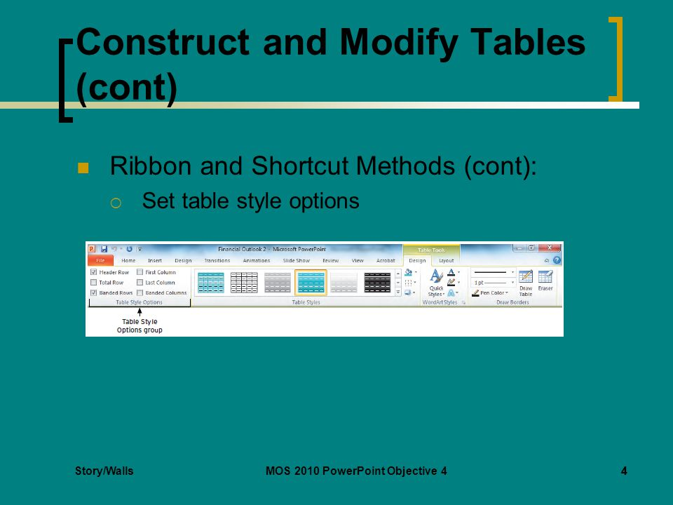 Story/WallsMOS 2010 PowerPoint Objective 45 Construct and Modify Tables (cont) Ribbon and Shortcut Methods (cont): Add shading Add borders Add effects 5
