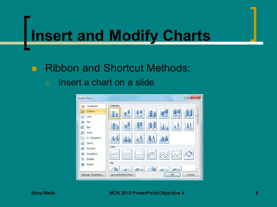 Story/WallsMOS 2010 PowerPoint Objective 48 Insert and Modify Charts Ribbon and Shortcut Methods: Insert a chart on a slide 8