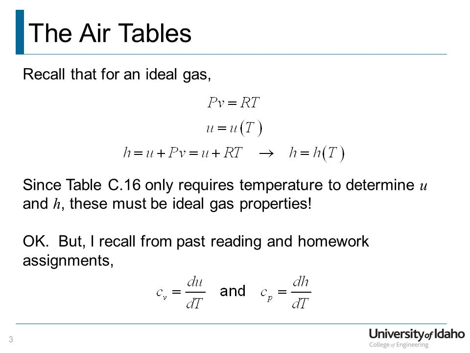 The Air Tables 3 Recall that for an ideal gas, Since Table C.16 only requires temperature to determine u and h, these must be ideal gas properties! OK