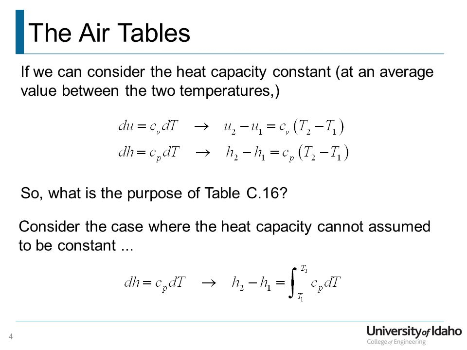 The Air Tables 4 If we can consider the heat capacity constant (at an average value between the two temperatures,) So, what is the purpose of Table C.