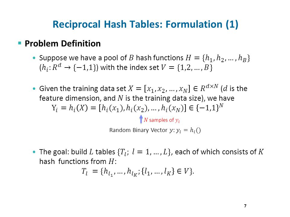 7 Reciprocal Hash Tables: Formulation (1)