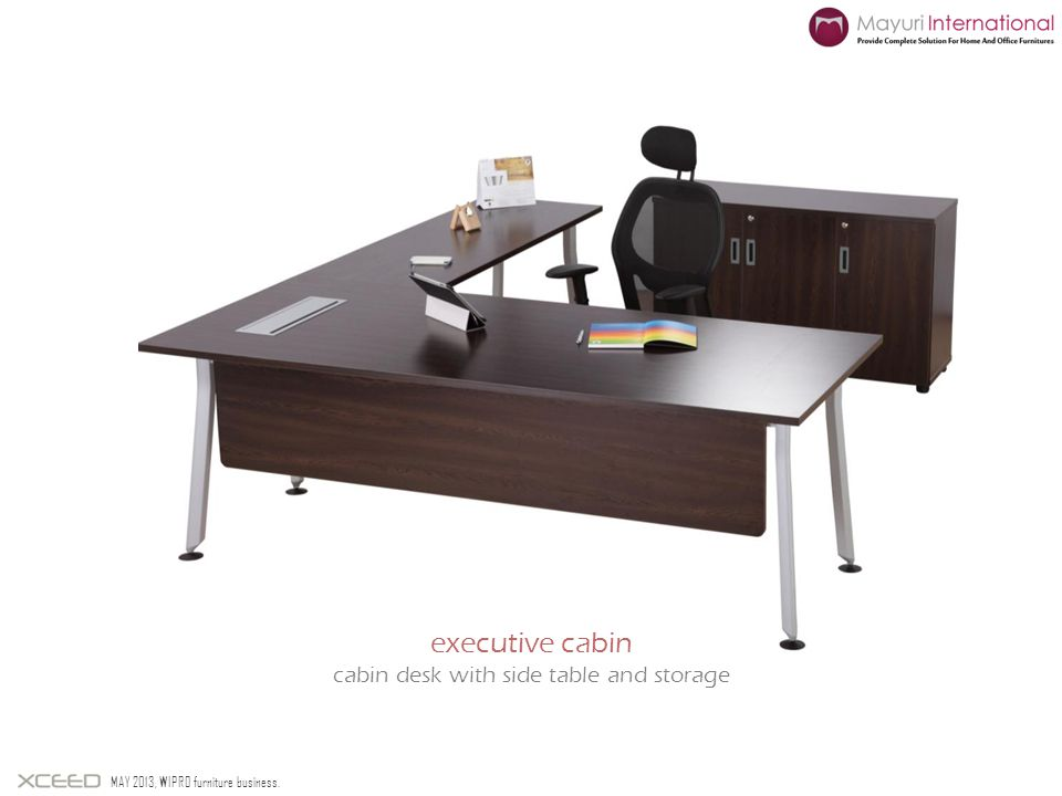 MAY 2013, WIPRO furniture business. executive cabin cabin desk with side table and storage
