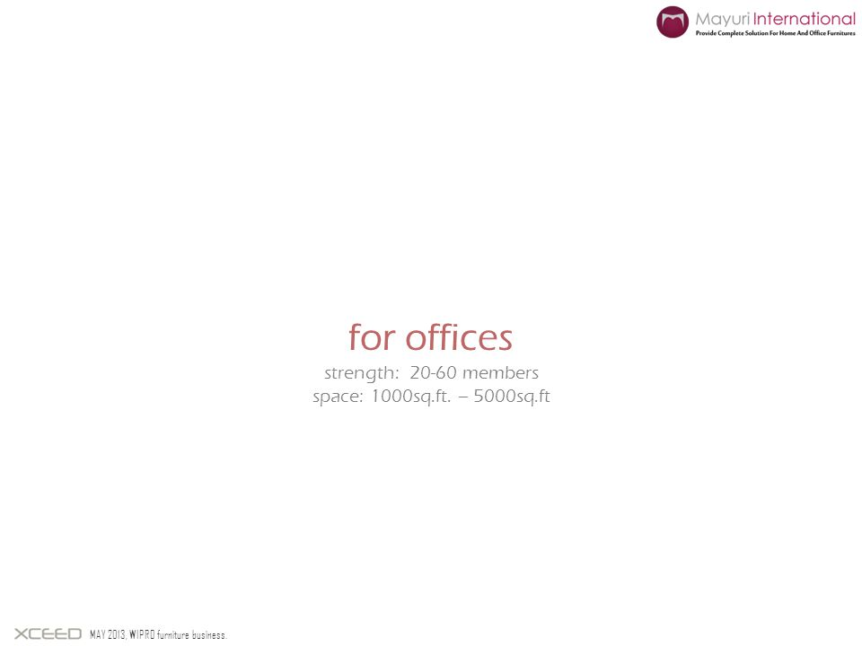 for offices strength: 20-60 members space: 1000sq.ft. – 5000sq.ft MAY 2013, WIPRO furniture business.