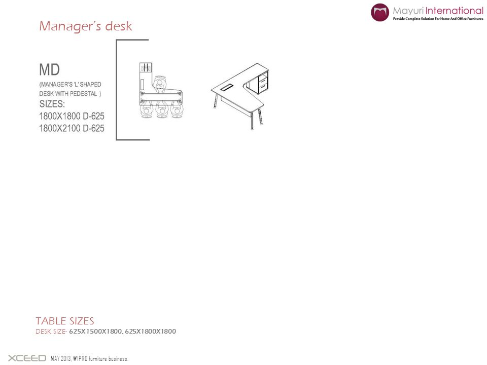 Managers desk TABLE SIZES DESK SIZE- 625X1500X1800, 625X1800X1800 MAY 2013, WIPRO furniture business.