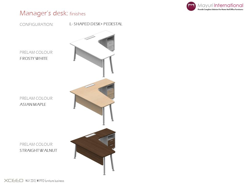 Managers desk: finishes MAY 2013, WIPRO furniture business. PRELAM COLOUR: FROSTY WHITE CONFIGURATION: PRELAM COLOUR: ASIAN MAPLE PRELAM COLOUR: STRAI