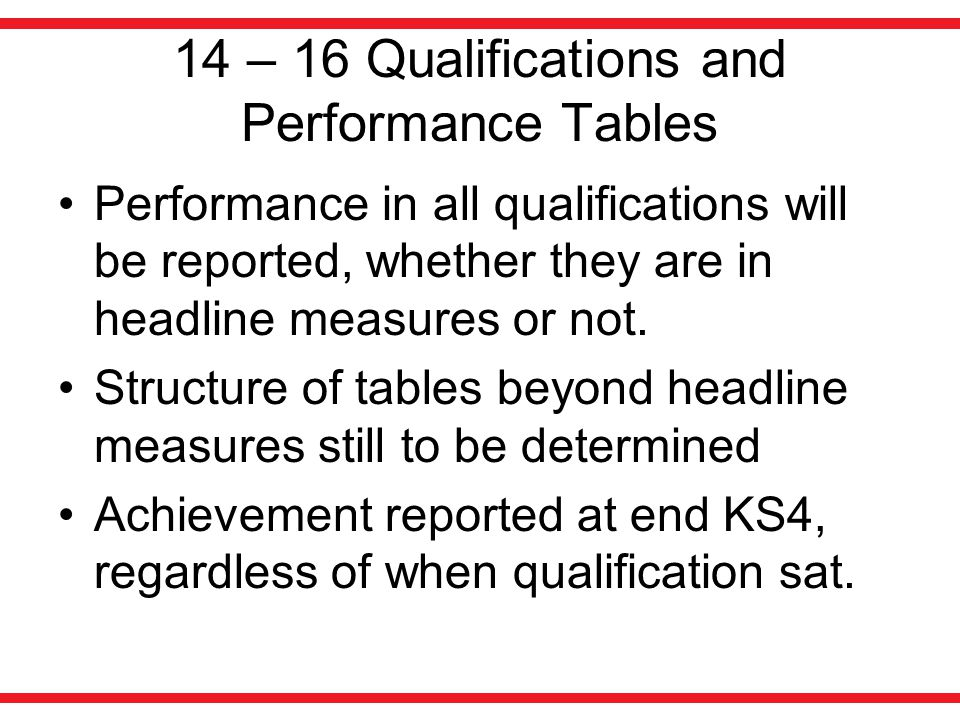14 – 16 Qualifications and Performance Tables Future lists will be published in November ahead of first teaching November 2012 for the 2015 list, November 2013 for the 2016 list and so on.