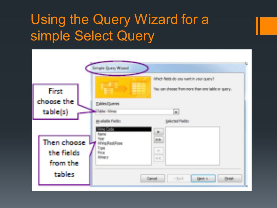 Using the Query Wizard for a simple Select Query