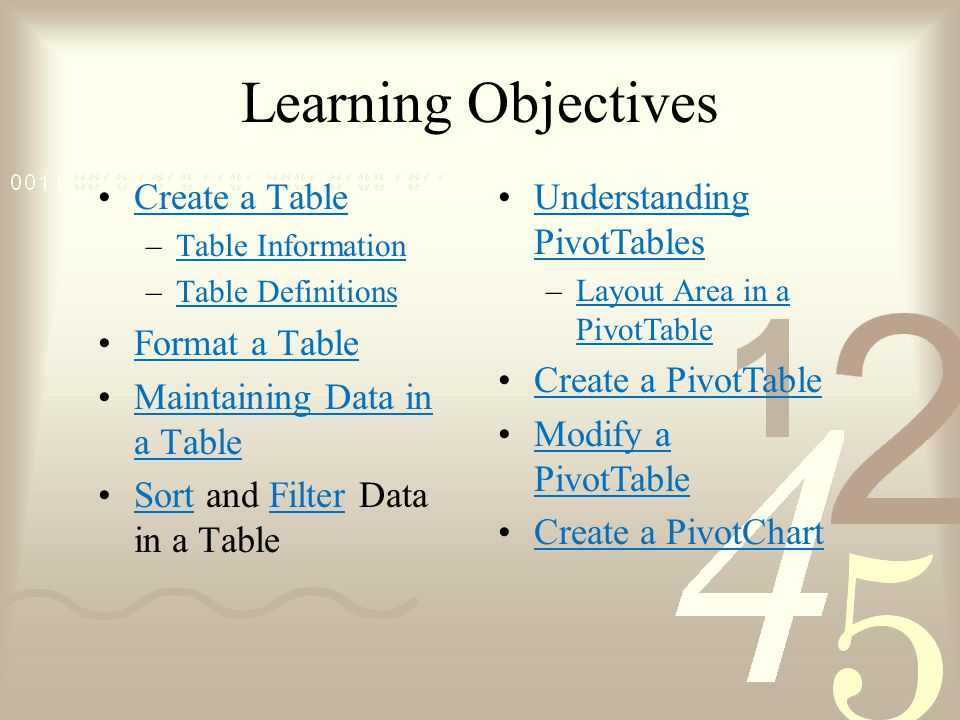 Learning Objectives Create a Table –Table InformationTable Information –Table DefinitionsTable Definitions Format a Table Maintaining Data in a TableMaintaining Data in a Table Sort and Filter Data in a TableSortFilter Understanding PivotTablesUnderstanding PivotTables –Layout Area in a PivotTableLayout Area in a PivotTable Create a PivotTable Modify a PivotTableModify a PivotTable Create a PivotChart