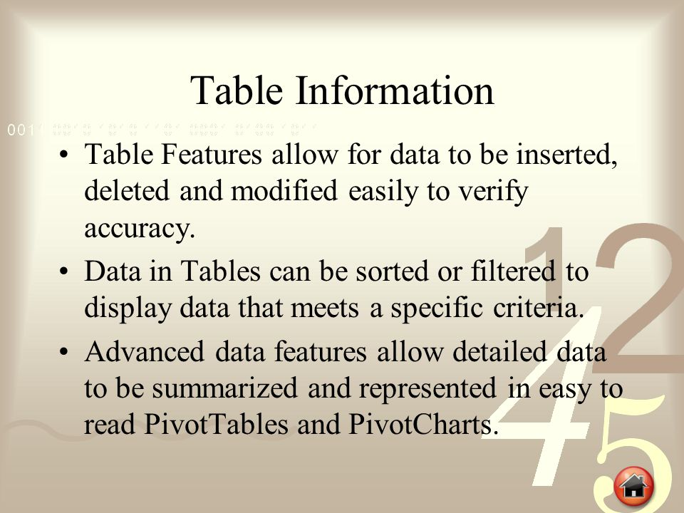 Table Information Table Features allow for data to be inserted, deleted and modified easily to verify accuracy.