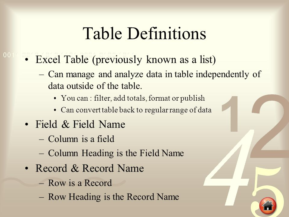 Create a Table It is important to plan how the data will be used and the field names prior to creating a Table.