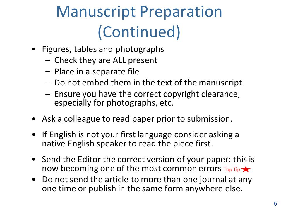 Manuscript Preparation (Continued) Figures, tables and photographs –Check they are ALL present –Place in a separate file –Do not embed them in the text of the manuscript –Ensure you have the correct copyright clearance, especially for photographs, etc.