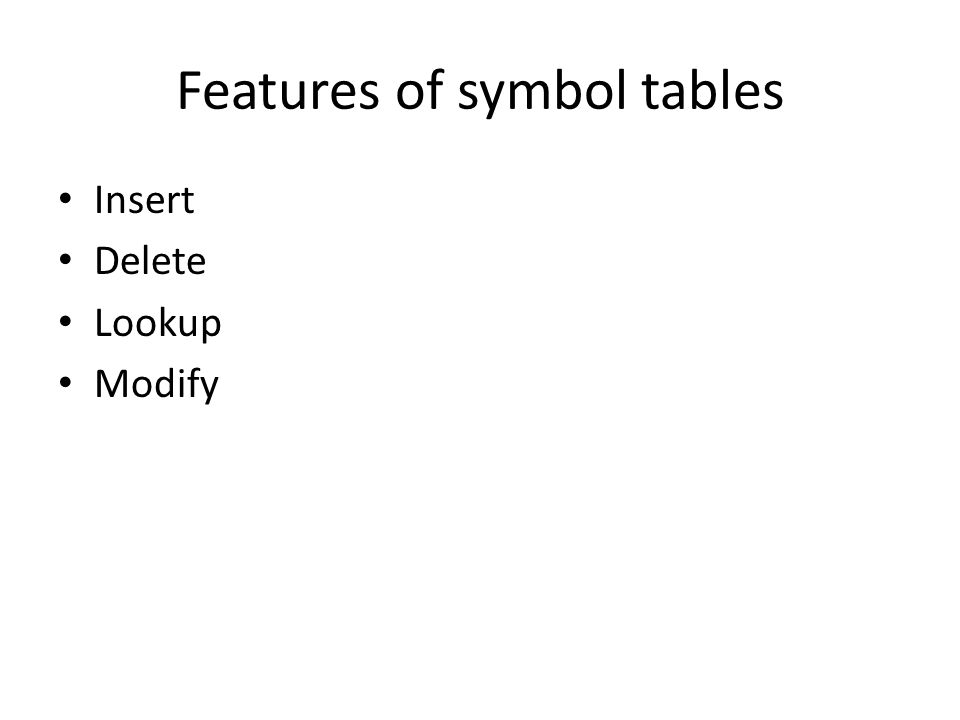 Features of symbol tables Insert Delete Lookup Modify