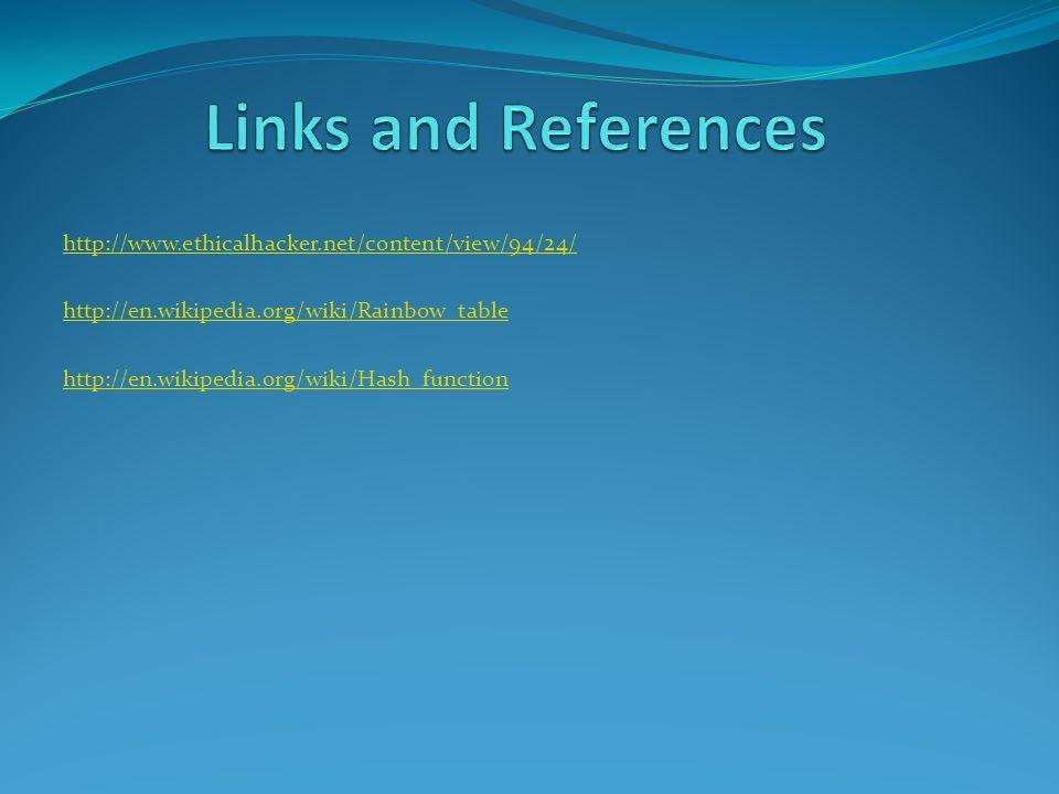 http://www.ethicalhacker.net/content/view/94/24/ http://en.wikipedia.org/wiki/Rainbow_table http://en.wikipedia.org/wiki/Hash_function