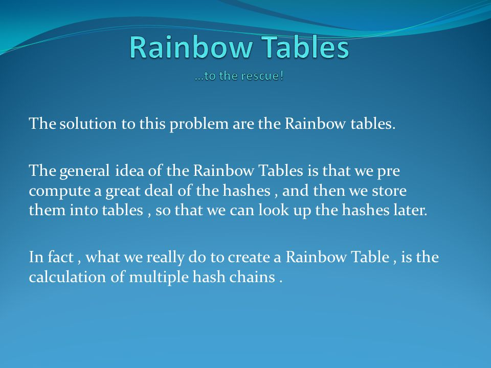 The solution to this problem are the Rainbow tables.