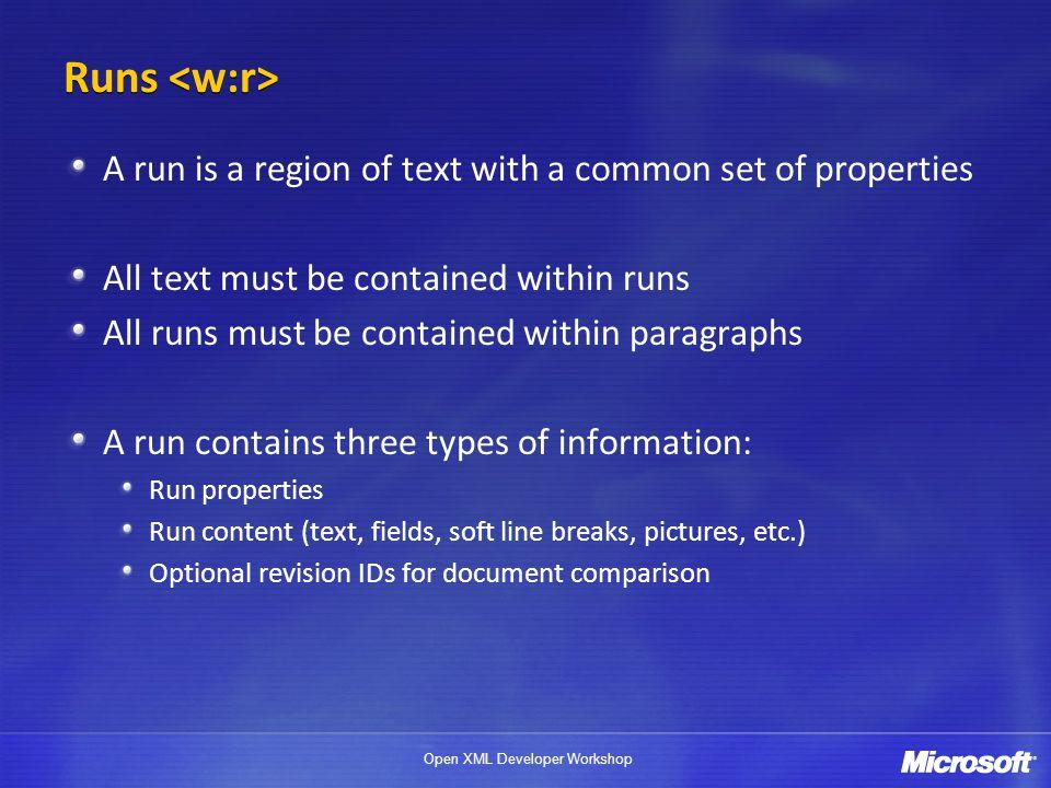 Open XML Developer Workshop Define formatting for individual characters Font attributes, size/position, etc.