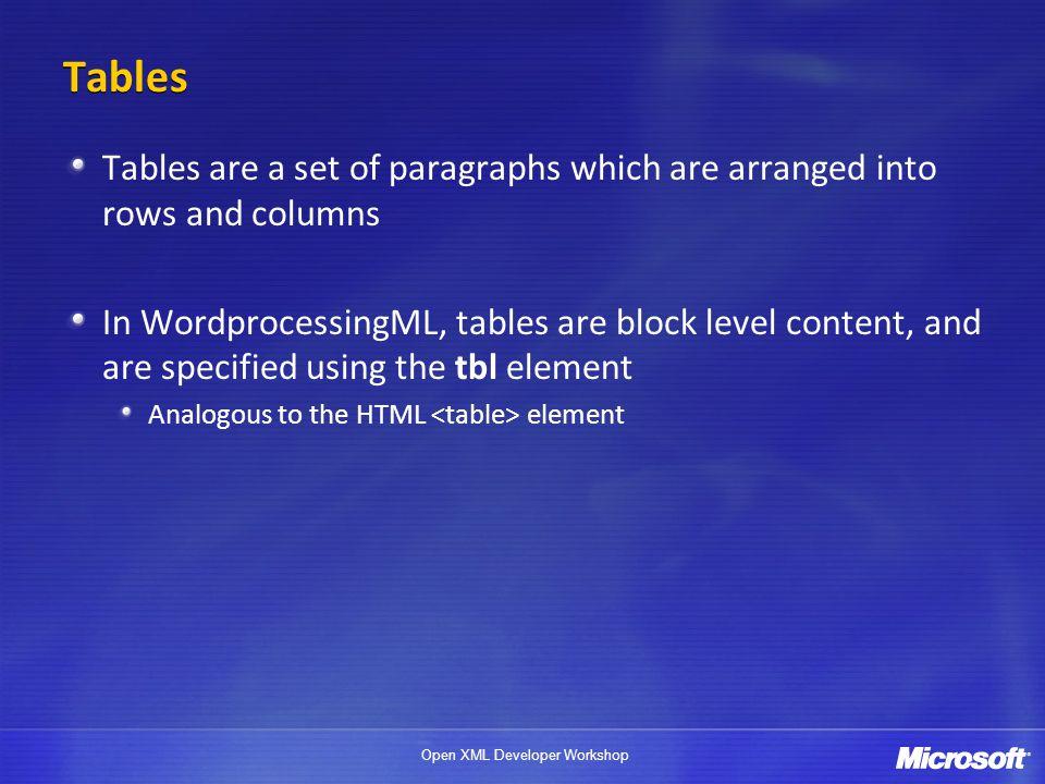 Open XML Developer Workshop Whats in a WordprocessingML table.