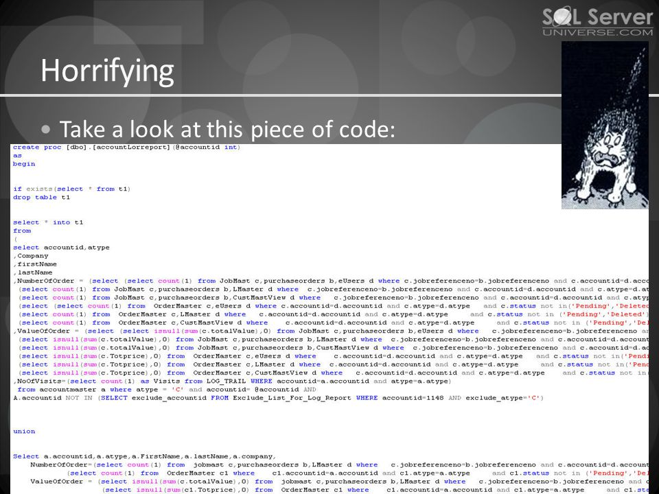Horrifying Take a look at this piece of code:
