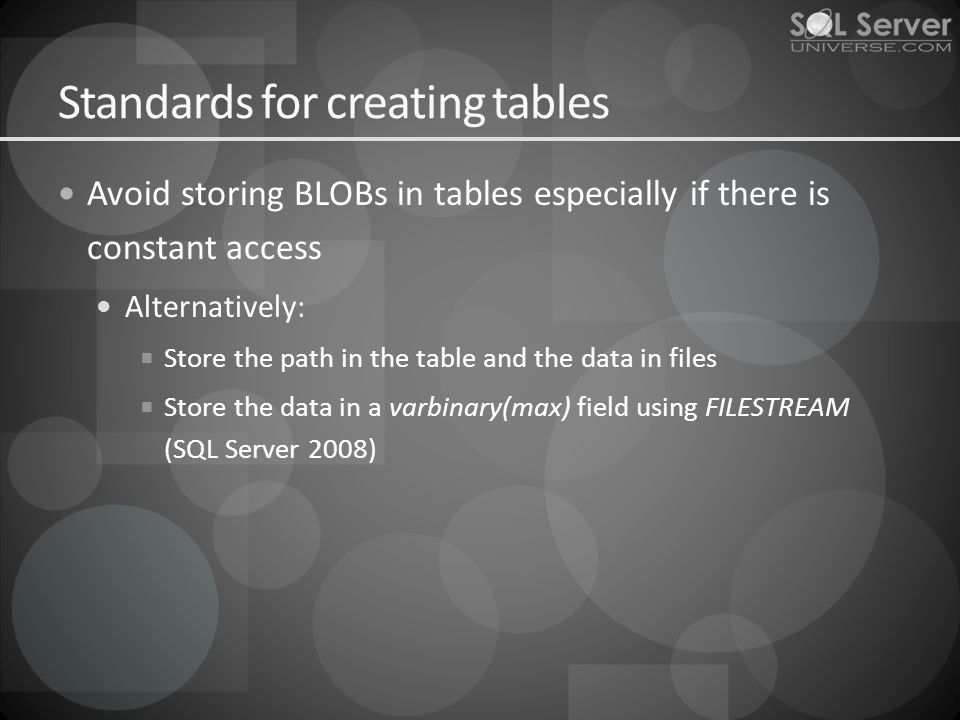 Standards for creating tables Avoid storing BLOBs in tables especially if there is constant access Alternatively: Store the path in the table and the data in files Store the data in a varbinary(max) field using FILESTREAM (SQL Server 2008)