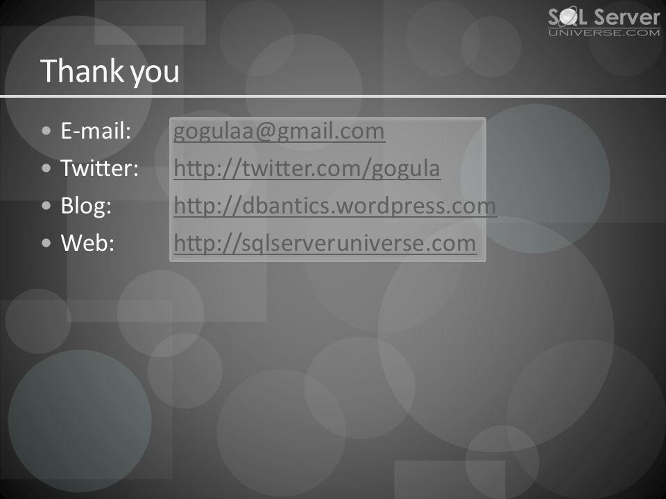 E-mail:gogulaa@gmail.comgogulaa@gmail.com Twitter:http://twitter.com/gogulahttp://twitter.com/gogula Blog:http://dbantics.wordpress.comhttp://dbantics.wordpress.com Web:http://sqlserveruniverse.comhttp://sqlserveruniverse.com Thank you