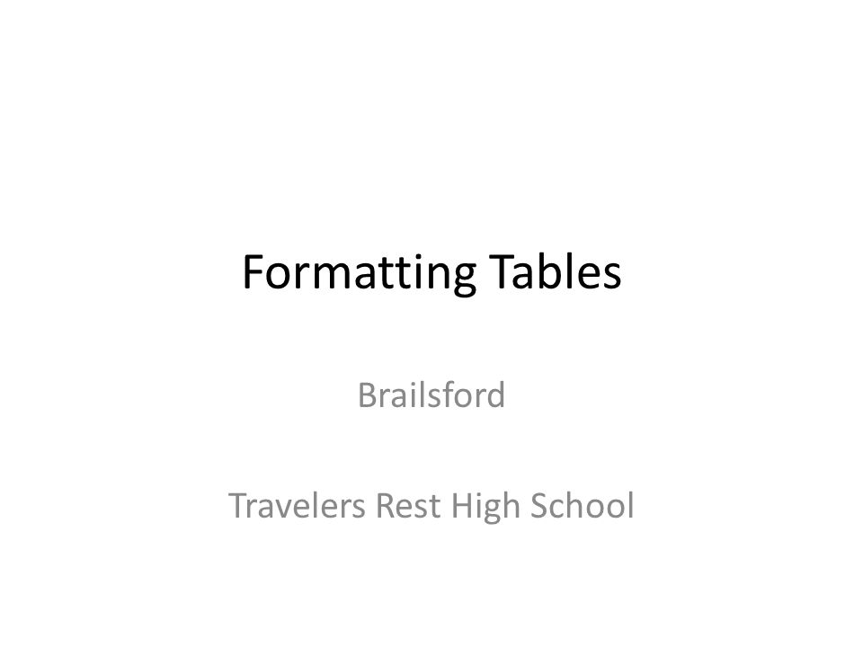 Table A table is an arrangements of data (words and/or numbers) in rows and columns.