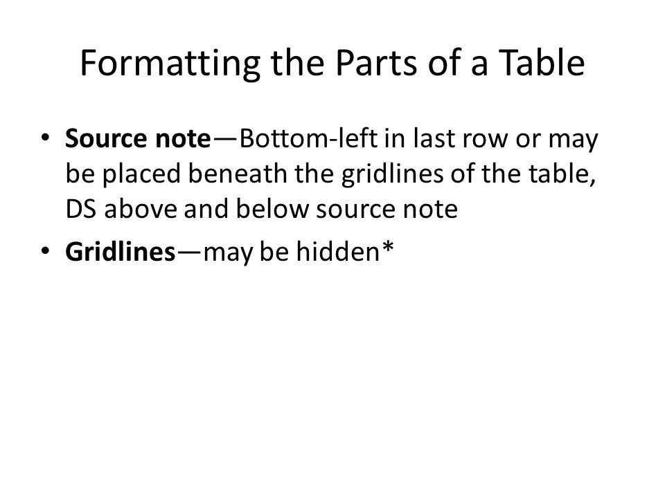 Table Format Features The following features can be used to make your tables attractive and easy to read: – Vertical placement – Horizontal placement – Column width – Row height – Vertical alignment – Horizontal alignment – Merge cells