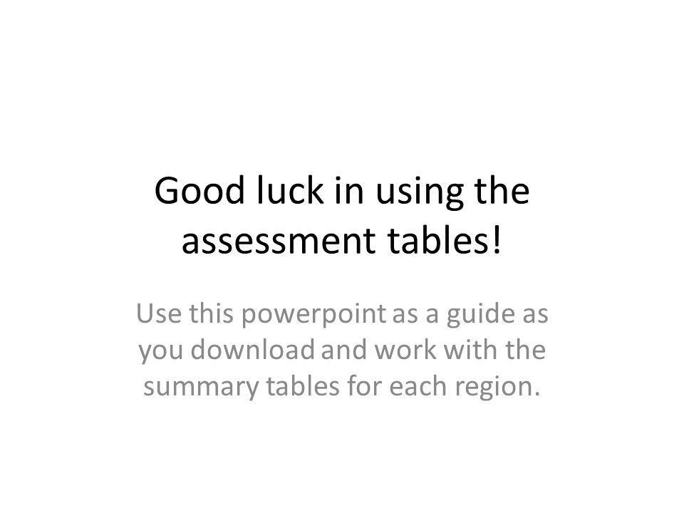 Good luck in using the assessment tables.