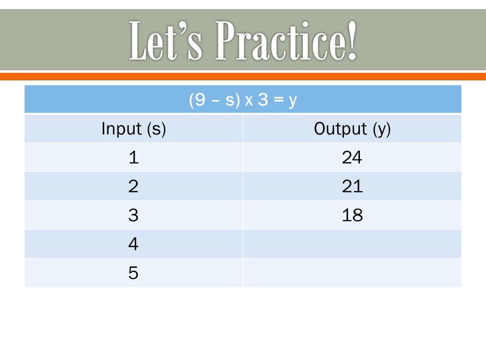 (9 – s) x 3 = y Input (s)Output (y) 124 221 318 4 5