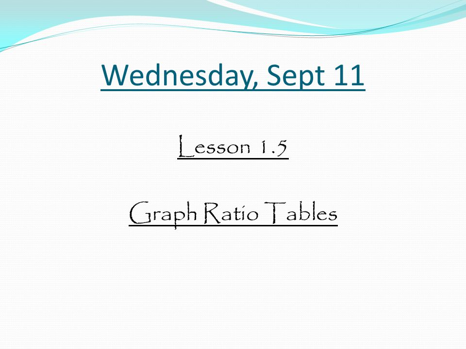 Wednesday, Sept 11 Lesson 1.5 Graph Ratio Tables