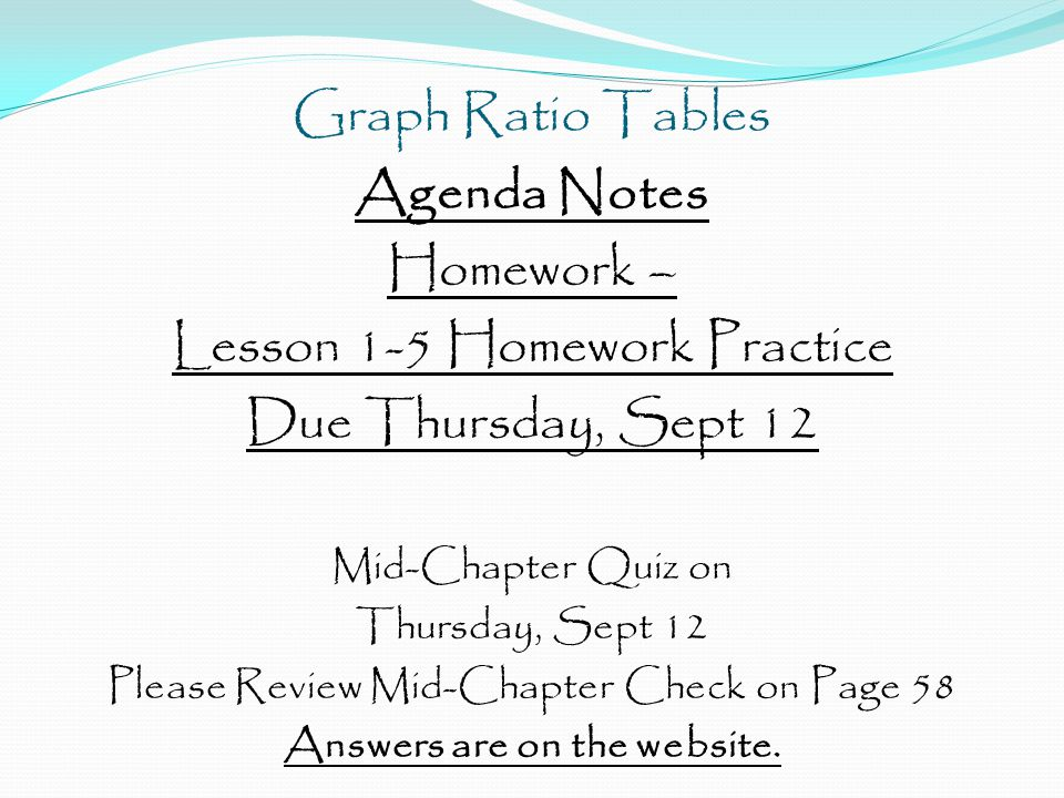 Agenda Notes Homework – Lesson 1-5 Homework Practice Due Thursday, Sept 12 Mid-Chapter Quiz on Thursday, Sept 12 Please Review Mid-Chapter Check on Page 58 Answers are on the website.