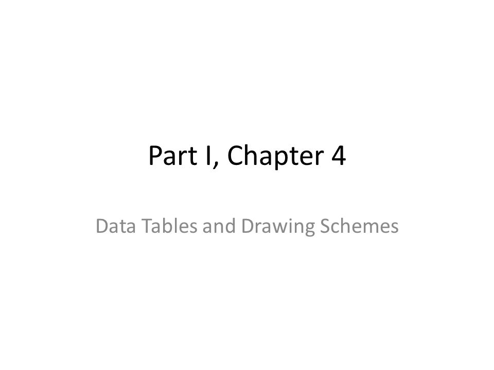 Part I, Chapter 4 Data Tables and Drawing Schemes
