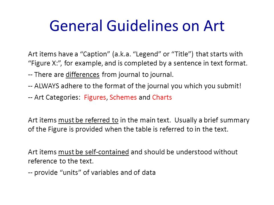 General Guidelines on Art Art items have a Caption (a.k.a.