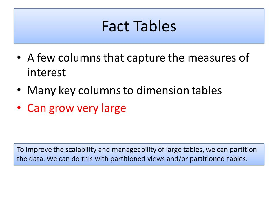 Fact Tables A few columns that capture the measures of interest Many key columns to dimension tables Can grow very large To improve the scalability an