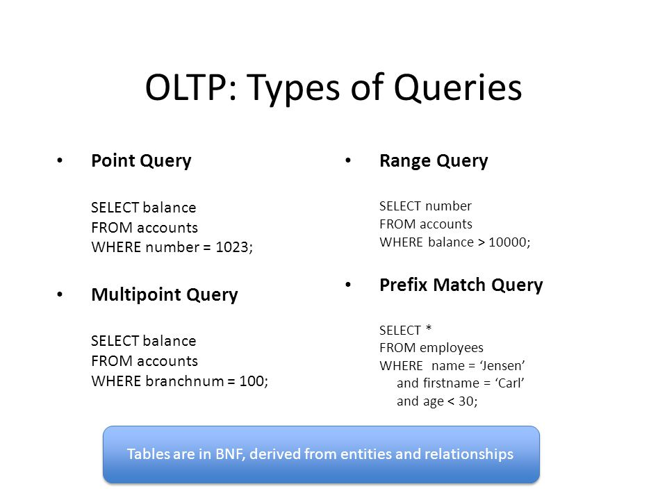 OLTP: Types of Queries Point Query SELECT balance FROM accounts WHERE number = 1023; Multipoint Query SELECT balance FROM accounts WHERE branchnum = 100; Range Query SELECT number FROM accounts WHERE balance > 10000; Prefix Match Query SELECT * FROM employees WHERE name = Jensen and firstname = Carl and age < 30; Tables are in BNF, derived from entities and relationships